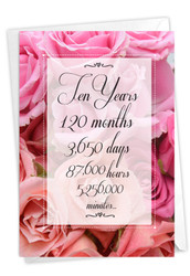 10 Year Time Count, Printed Milestone Anniversary Greeting Card - C9087MAG