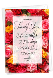 20 Year Time Count, Printed Milestone Anniversary Note Card - C9088MAG