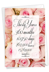 30 Year Time Count, Printed Milestone Anniversary Note Card - C9090MAG
