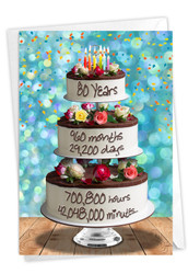 80 Year Time Count, Printed Milestone Birthday Note Card - C9095MBG