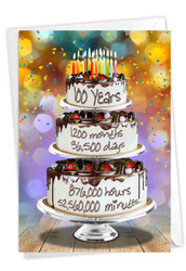100 Year Time Count, Printed Milestone Birthday Note Card - C9097MBG