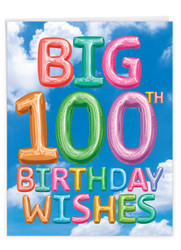 Inflated Messages - 100, Extra Large Milestone Birthday Greeting Card - J5651HMBG-US