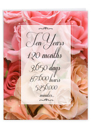 10 Year Time Count, Jumbo Milestone Anniversary Note Card - J9087MAG-US