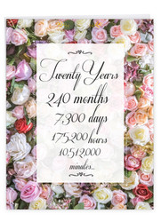 20 Year Time Count, Extra Large Milestone Anniversary Greeting Card - J9088MAG-US