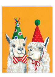 Personality Llamas - Party Hats, Extra Large Christmas Note Card - J7036AXSG-US