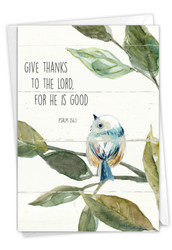Scripture Birds - Psalm 136:1, Printed Sympathy Thank You Greeting Card - C7108ESTG