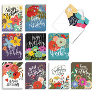 Blooming Wishes, Assorted Set Of Mini Birthday Note Cards - AM9155BDG