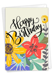 Blooming Wishes, Printed Birthday Greeting Card - C9155BBDG