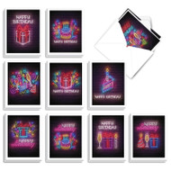 Glowing Wishes, Assorted Set Of Mini Birthday Greeting Cards - AM9173BDG