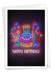 Glowing Wishes - Cake, Printed Birthday Note Card - C9173ABDG