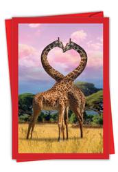 Loving Animals - Giraffes, Printed Valentine's Day Greeting Card - C3504AVDG