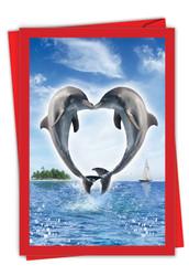 Loving Animals - Dolphins, Printed Valentine's Day Greeting Card - C3504IVDG