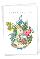 Victorian Blooms And Bunnies, Printed Easter Note Card - C3513AEAG