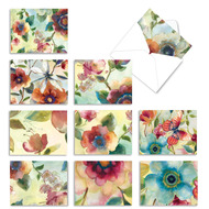 Watercolor Botanicals, Assorted Set Of Mini Blank Note Cards - AM3314OCB