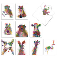Funky Rainbow Wildlife, Assorted Set Of Mini Blank Note Cards - AM4948OCB