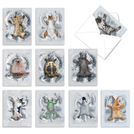 Critter Snow Angels, Assorted Set Of Mini Blank Greeting Cards - AM4187OCB