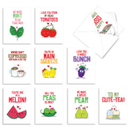 Yummy Puns, Assorted Set Of Mini Blank Note Cards - AM5659OCB