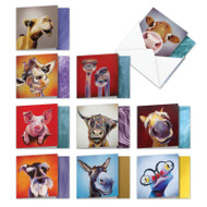 Animal Magnetism, Assorted Set Of Mini Blank Note Cards - AM6218OCB