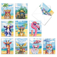Animal's Day Off, Assorted Set Of Mini Blank Note Cards - AM6670OCB