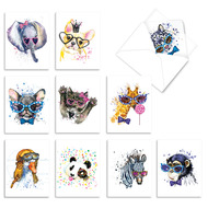 Funky Colorful Creatures, Assorted Set Of Mini Blank Note Cards - AM6749OCB