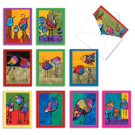 Bohemian Birds, Assorted Set Of Mini Blank Greeting Cards - AM3319OCB