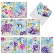 Cool Blossoms, Assorted Set Of Mini Blank Note Cards - AM1708OCB