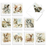 Watercolor Wildlife, Assorted Set Of Mini Blank Greeting Cards - AM6629OCB