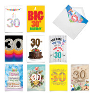 Hooray for 30!, Assorted Set Of Printed Milestone Birthday Note Cards - AC9384MBG