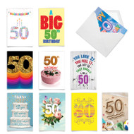 Hooray for 50!, Assorted Set Of Printed Milestone Birthday Note Cards - AC9386MBG
