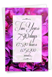 2 Year Time Count, Printed Milestone Anniversary Note Card - C9085MAG
