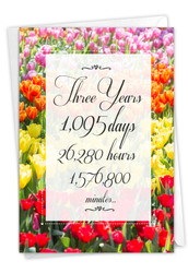 3 Year Time Count, Printed Milestone Anniversary Greeting Card - C9086MAG