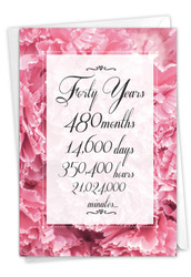 40 Year Time Count, Printed Milestone Anniversary Greeting Card - C9091MAG
