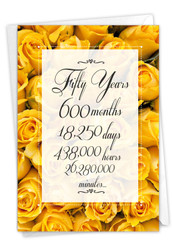 50 Year Time Count, Printed Milestone Anniversary Note Card - C9092MAG
