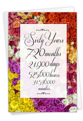 60 Year Time Count, Printed Milestone Anniversary Greeting Card - C9093MAG