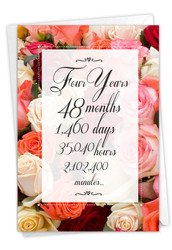 4 Year Time Count, Printed Milestone Anniversary Note Card - C9434MAG