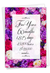 5 Year Time Count, Printed Milestone Anniversary Note Card - C9435MAG