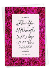 15 Year Time Count, Printed Milestone Anniversary Note Card - C9436MAG