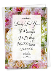 25 Year Time Count, Printed Milestone Anniversary Greeting Card - C9437MAG