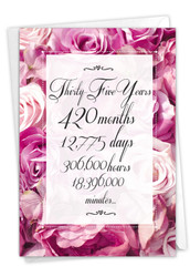 35 Year Time Count, Printed Milestone Anniversary Note Card - C9438MAG