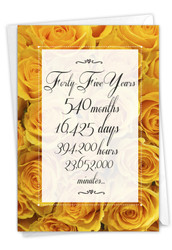 45 Year Time Count, Printed Milestone Anniversary Greeting Card - C9439MAG