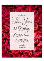 3 Year Time Count, Extra Large Milestone Anniversary Greeting Card - J9086MAG-US