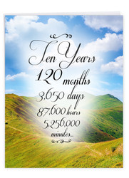 10 Year Time Count, Jumbo Recovery Note Card - J9087AAG-US
