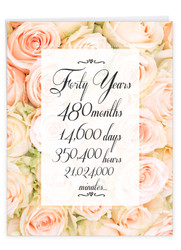 40 Year Time Count, Extra Large Milestone Anniversary Greeting Card - J9091MAG-US
