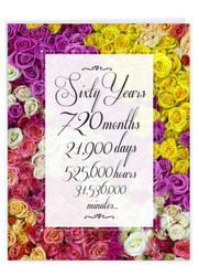 60 Year Time Count, Extra Large Milestone Anniversary Greeting Card - J9093MAG-US
