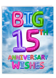 Inflated Messages - 15, Jumbo Milestone Anniversary Note Card - J9430MAG-US