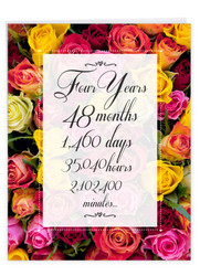 4 Year Time Count, Extra Large Milestone Anniversary Greeting Card - J9434MAG-US