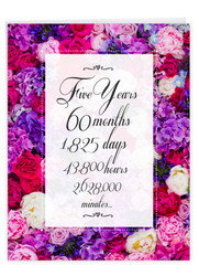 5 Year Time Count, Extra Large Milestone Anniversary Greeting Card - J9435MAG-US