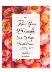 15 Year Time Count, Extra Large Milestone Anniversary Greeting Card - J9436MAG-US