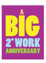 2 Years At Work, Extra Large Milestone Anniversary Greeting Card - J9454MAG