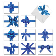 Blue Holiday Bows Happy Hanukkah/Blank Greeting Cards